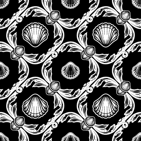 Beautiful seamless pattern with shells. Baroque tattoo style pattern. Vector texture for wallpapers, textile, fabric.