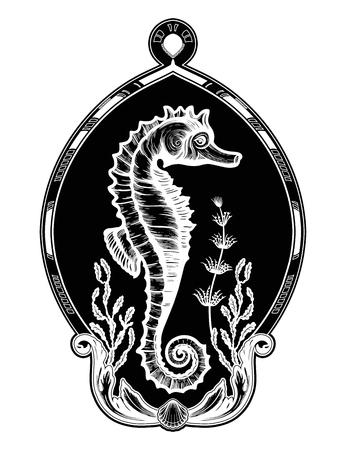 Hand drawn seahorse with sea plants in elegant frame.Vintage vector illustration.