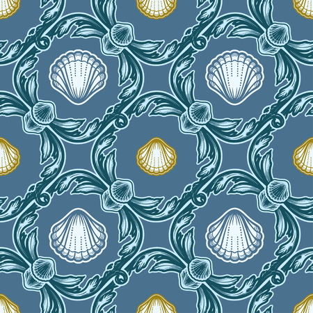 Beautiful seamless pattern with shells. Baroque tattoo style pattern. Vector texture for wallpapers, textile, fabric. Archivio Fotografico - 123279887