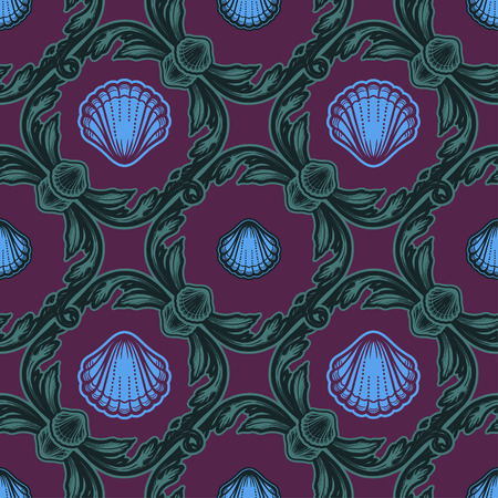 Beautiful seamless pattern with shells. Vector texture for wallpapers, textile, fabric.
