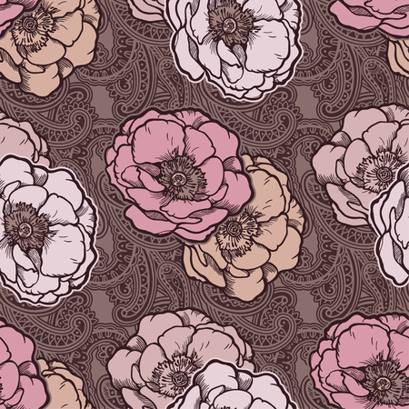 Beautiful bohemian floral paisley seamless ornament. Baroque tattoo style pattern with rose flowers. Vintage ornate vector wallpaper, decorative vector art. 写真素材 - 124254485