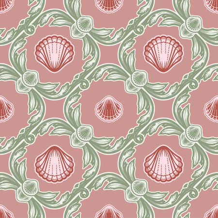 Beautiful seamless pattern with shells. Tattoo style pattern. Vector texture for wallpapers, textile, fabric. Illustration