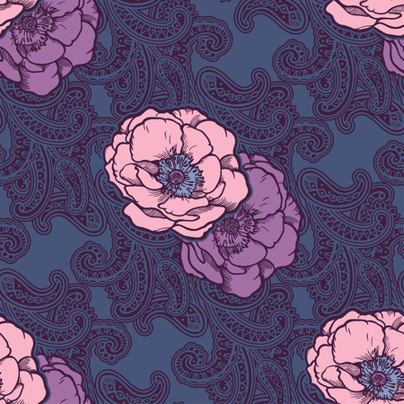 Beautiful bohemian floral paisley seamless ornament. Baroque tattoo style pattern with rose flowers. Vintage ornate vector wallpaper, decorative vector art. Иллюстрация