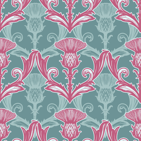 Beautiful bohemian damask seamless ornament with thistle flower.
