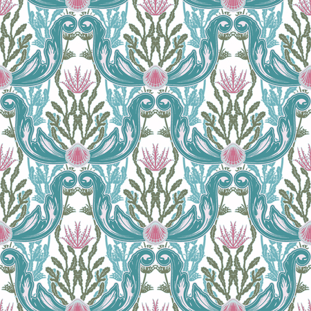 Beautiful seamless pattern with sea plants. Nautical style pattern. Vector texture for wallpapers, textile, fabric. Archivio Fotografico - 123279972