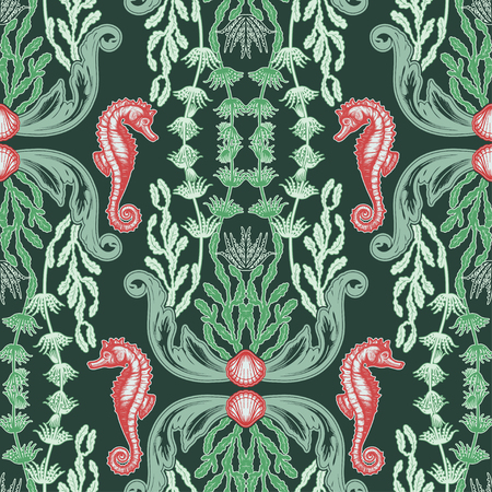 Beautiful seamless pattern with sea plants. Nautical style pattern. Vector texture for wallpapers, textile, fabric.