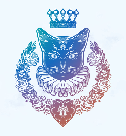 Black cat silhouette portrait with secret key and beautiful wreath of flowers.Ideal Halloween background, tattoo art, boho design. Perfect for print, posters, t-shirts,textiles. Vector illustration.  イラスト・ベクター素材