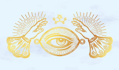 Ornate old fashioned hands and mystic eye.Isolated vector illustration.Vintage alchemy and gothic style inspired art. Vector illustration isolated. Tattoo design, trendy  イラスト・ベクター素材