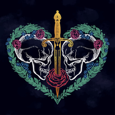 Beautiful romantic skulls with sword and elegant wreath of flowers inside the heart. Ink on aged card vintage background. Tattoo vintage design element. Vector illustration.  イラスト・ベクター素材