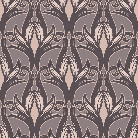 Beautiful bohemian arabesque seamless ornament. Baroque tattoo style pattern with floral elements. Vintage ornate vector wallpaper, decorative vector art.