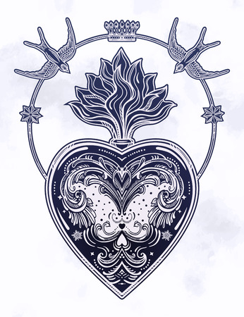 Ornate decorative heart with flame. Vintage gothic style inspired art. Vector illustration isolated. Tattoo design, trendy romance symbol for your use. 写真素材 - 124094259