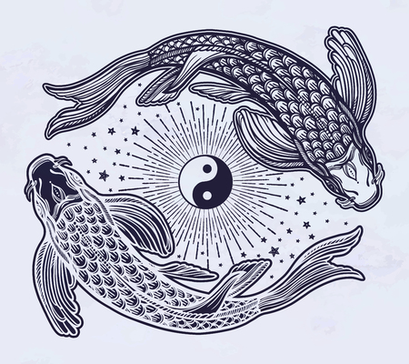 Hand drawn ethnic fishes (carp) with symbol of harmony of male and female energy, wisdom. Vector illustration isolated. Spiritual art for tattoo, boho, coloring books. Beautifully detailed, serene.