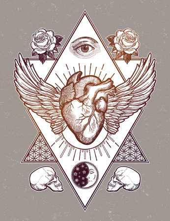 Decorative naturalistic heart with wings in a sacred frame.Vintage gothic style inspired art. Vector illustration isolated. Tattoo design, trendy romance symbol for your use.  イラスト・ベクター素材