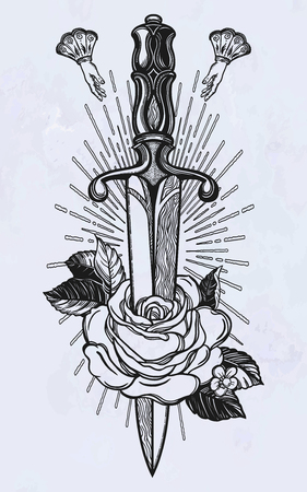 Traditional tattoo flash rose with knife. Romantic flesh art festival poster. Rock and Roll music related sign. Vector illustration isolated. Tattoo design, music, occult symbol for your use. 写真素材 - 124094270
