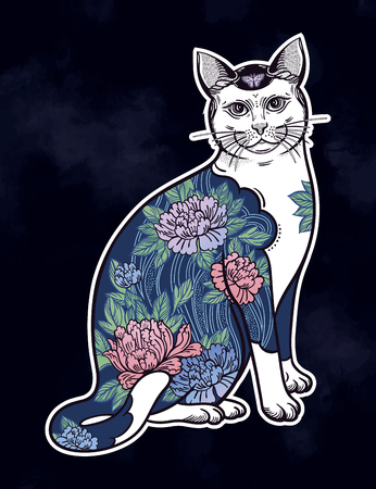 Folklore cat with flowers and butterfly tattoo.