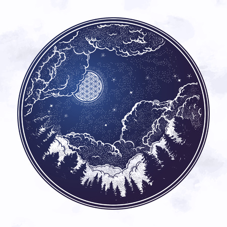 Hand drawn coniferous forest and the starry night sky with moon.Isolated Vector illustration. Invitation element.Tattoo,travel,adventure,meditation symbol. Иллюстрация
