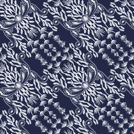 Beautiful seamless pattern with sea plants. Nautical style pattern. Vector texture for wallpapers, textile, fabric. Archivio Fotografico - 123280016