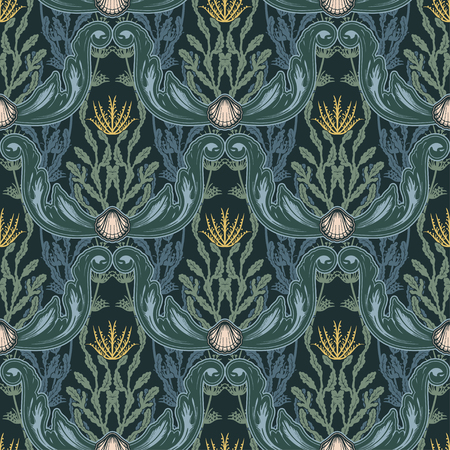 Beautiful seamless pattern with sea plants. Nautical style pattern. Vector texture for wallpapers, textile, fabric. Archivio Fotografico - 123280019