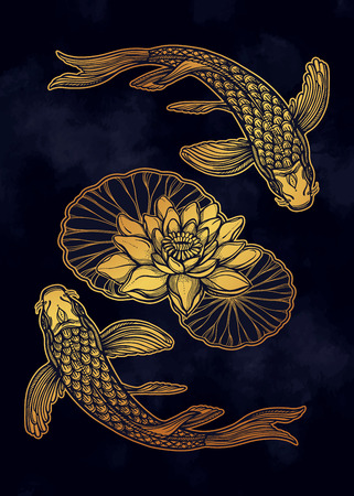 Hand drawn ethnic fish (Koi carp) with water lotus flowers - symbol of harmony, wisdom. Vector illustration isolated. Spiritual art for tattoo, boho, coloring books. Beautifully detailed, serene. Imagens - 124031246