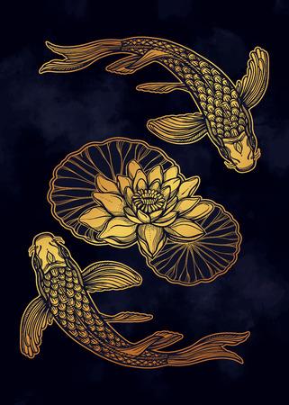 Pesce etnico disegnato a mano (carpa Koi) con fiori di loto d'acqua - simbolo di armonia, saggezza. Illustrazione vettoriale isolato. Arte spirituale per tatuaggi, boho, libri da colorare. Splendidamente dettagliato, sereno.