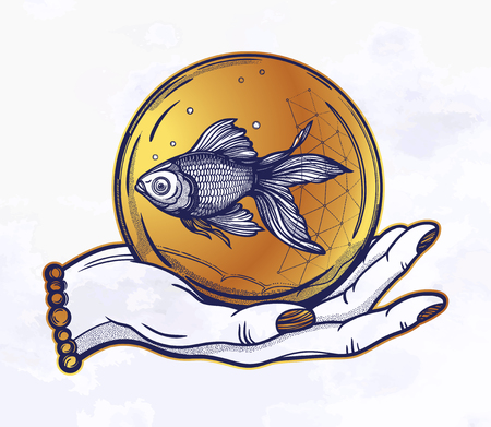 Traditional tattoo flash hand with goldfish in a water bubble.Vintage style inspired art. Vector illustration isolated. Tattoo design, trendy romance symbol of hope, luck for your use. 写真素材 - 124031255