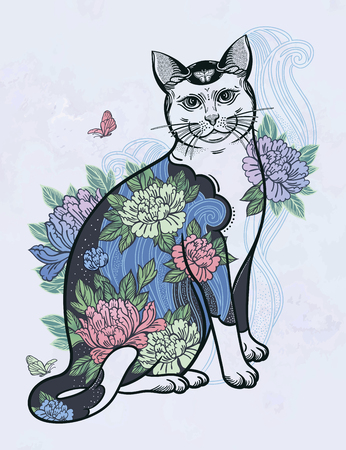 Folklore cat with flowers and butterfly tattoo. 写真素材 - 124031256
