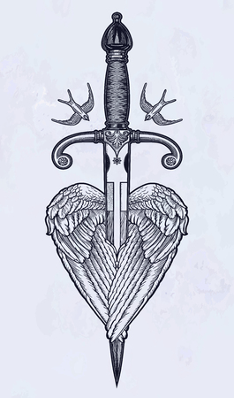 Traditional tattoo flash wings with knife. Romantic flesh art festival poster. Rock and Roll music related sign. Vector illustration isolated. Tattoo design, music, occult symbol for your use. 写真素材 - 124031257