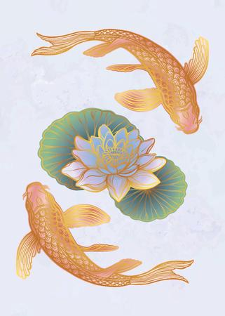Hand drawn ethnic fish (Koi carp) with water lotus flowers - symbol of harmony, wisdom. Vector illustration isolated. Spiritual art for tattoo, boho, coloring books. Beautifully detailed, serene. 写真素材 - 124031260