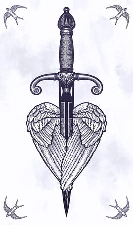 Traditionelle Tattoo-Flügel mit Messer. Vektorgrafik