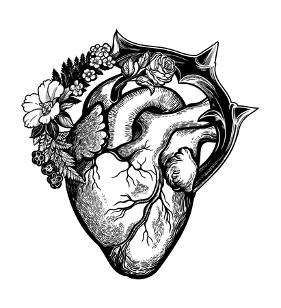 Naturalistic heart in a frame of flowers and thorns.Vintage gothic style inspired art. Vector illustration isolated. Tattoo design, trendy romance symbol for your use. Ilustração
