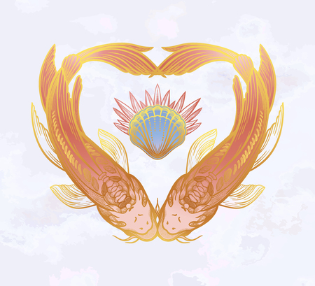 Two carps in the shape of a heart, symbol of harmony. Vector illustration isolated. Spiritual art for tattoo. Illustration