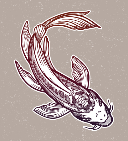Hand drawn ethnic fish (Koi carp)- symbol of harmony, wisdom. Vector illustration isolated. Spiritual art for tattoo, boho, coloring books. Beautifully detailed, serene. Vektoros illusztráció