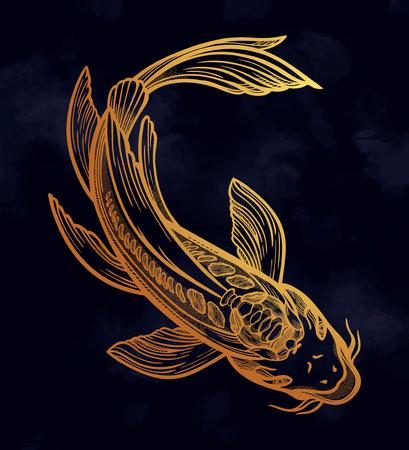 Poisson ethnique dessiné à la main (carpe Koi) - symbole d'harmonie, de sagesse. Illustration vectorielle isolée. Art spirituel pour tatouage, boho, livres à colorier. Magnifiquement détaillé, serein.