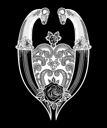 Traditional tattoo flash rose with two knifes. Romantic flesh art festival poster.Vector illustration isolated. Tattoo design, music, occult symbol for your use.