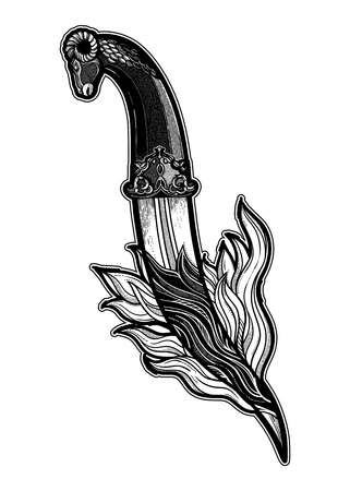 Traditional tattoo flash dagger on fire. Romantic flesh art festival poster.Vector illustration isolated. Tattoo design, music, occult symbol for your use.