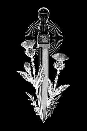 Traditional tattoo flash thistle with scotland dagger - dirk. Romantic flesh art festival poster. Scotland national symbol of honor and courage. Vector illustration isolated.