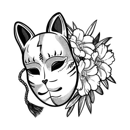 Japanese mask fox with flowers.
