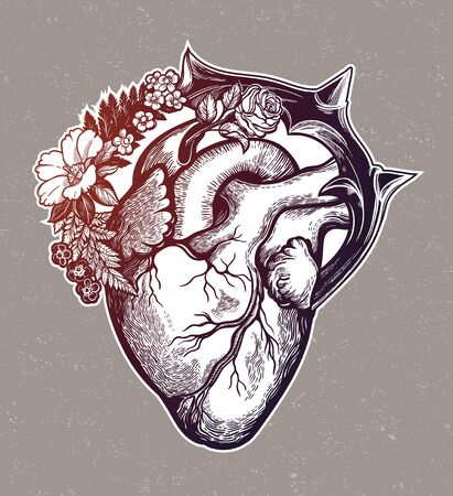 Naturalistic heart in a frame of flowers and thorns.Vintage gothic style inspired art. Vector illustration isolated. Tattoo design, trendy romance symbol for your use. Иллюстрация
