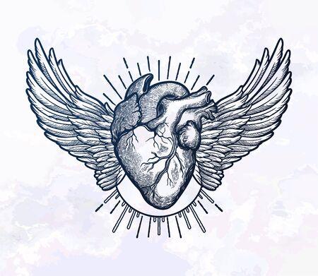 Decorative naturalistic heart with wings. Фото со стока