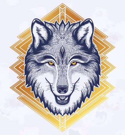 The head of a wolf. Dreamy magic art. Night, nature, wicca symbol. Isolated vector illustration. Great outdoors, tattoo design. Фото со стока - 131930006