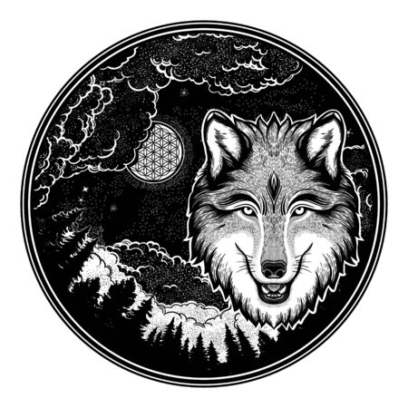 Portrait of a wolf on a background of mountain landscape.Dreamy magic art. Night, nature, wicca symbol. Isolated vector illustration. Great outdoors, tattoo and t-shirt design. Фото со стока - 131929669