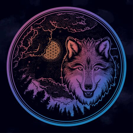 Portrait of a wolf on a background of mountain landscape.Dreamy magic art. Night, nature, wicca symbol. Isolated vector illustration. Great outdoors, tattoo and t-shirt design.