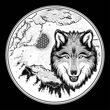 Portrait of a wolf on a background of mountain landscape.Dreamy magic art. Night, nature, wicca symbol. Isolated vector illustration. Great outdoors, tattoo and t-shirt design. Фото со стока - 131929690
