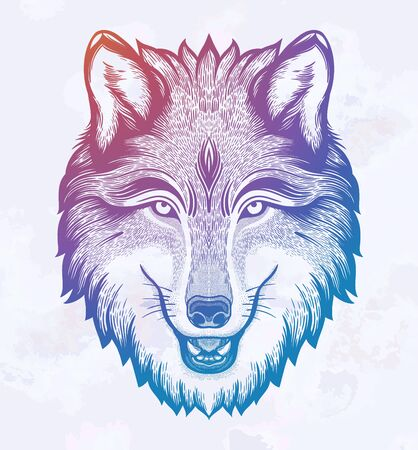 Retrato de lobo Arte mágico de ensueño. Noche, naturaleza, símbolo de la wicca. Ilustración de vector aislado. Gran aire libre, diseño de tatuajes y camisetas.