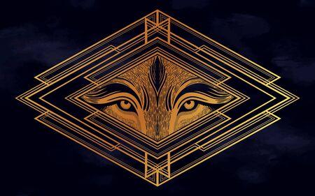 Occhi di lupo in ambiente geometrico. Arte magica da sogno. Notte, natura, simbolo wicca. Illustrazione vettoriale isolato. Grandi spazi aperti, tatuaggio e design di t-shirt.