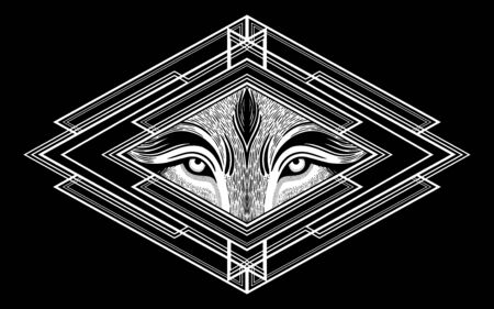 Wolf eyes in geometric setting.Dreamy magic art. Night, nature, wicca symbol. Isolated vector illustration. Great outdoors, tattoo and t-shirt design. Фото со стока - 131929893