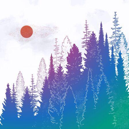 Wild mountain forest landscape.Isolated vector illustration. Tattoo, travel, adventure, outdoors retro symbol