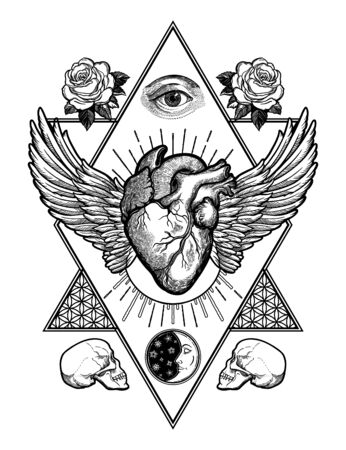 Decorative naturalistic heart in a sacred frame.