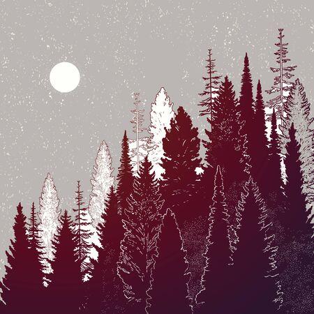 Wild mountain forest landscape.Isolated vector illustration. Invitation. Tattoo, travel, adventure, outdoors retro symbol. Illustration