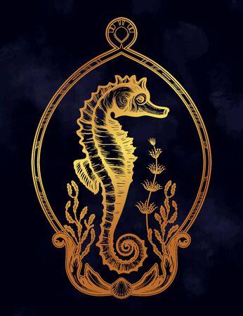 Hand drawn seahorse with sea plants. Vintage vector illustration.  イラスト・ベクター素材
